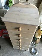Narrow Chest of 6 Drawers in Pine Very Good Condition