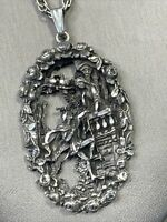 Vintage 1950's Pewter Romeo and Juliet DETAILED WOW   Chain Sweater Necklace 24""