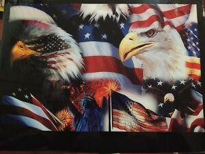 One of a kind Epoxy Patriotic US flag Bald Eagle Foldable Table - Utility & Art