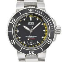 Auth ORIS Aquis Depth Gauge Diver 01 733 7675 4154 Automatic Men's Watch H#86946