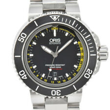 Auth ORIS Aquis Depth Gauge Diver 01 733 7675 4154 Automatic Men's Watch H#86946