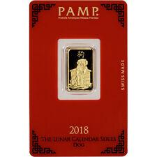 5 gram Gold Bar - PAMP Suisse - Lunar Year of the Dog - 999.9 Fine in Assay