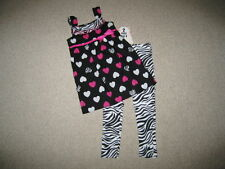 "NEW ""ZEBRA HEARTS"" Tunic Capri Pants Girls 5 Spring Summer Clothes Boutique Kid"