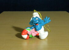 Smurf Riding Candy Cane Christmas Ornament Vintage Smurfs Figure PVC Toy 51907