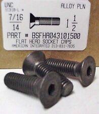 7/16-14x1-1/2 Flat Head Hex Socket Cap Screws Alloy Steel Black (5)