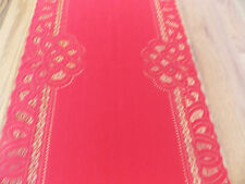 HERITAGE LACE RED BATTENBURG TABLE RUNNER GORGEOUS 14WX34L ITEM 3098