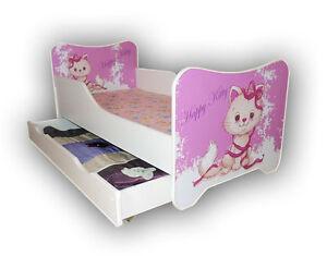 Children Bed, Toddler Junior Bed For Girls Kids with mattress 140x70cm + drawer