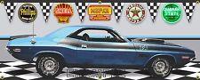 1970 DODGE CHALLENGER TA SIX PACK BLUE CAR GARAGE SCENE BANNER SIGN ART 2' X 5'