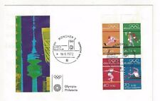 1972 Munich Germany Olympics Block FDC, Basketball Track & Field, Rowing