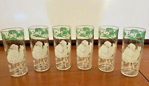 Set of 6 Vintage Hazel Atlas Camel Pyramid Palm Tree Oasis Highball Glasses