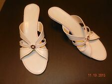"""Cole Haan -10B Med- White Lea. Red Pinstripe Stitched 3"""" Wood Heel SLIDE SANDALS"""