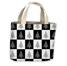Black White Christmas Tree Pattern Tote Shopping Bag For Life