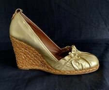 BCBG Max Azria Gold Leather Espadrilles Shoe Pleated Braided Wedge Heel Sz 9.5 B