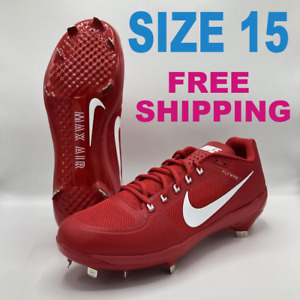 NEW NIKE MAX AIR SPORTS CLEATS AIR COOP FLYWIRE SIZE 15 RED FREE SHIPPING HOT