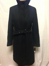 Kenneth Cole Reaction Stand Collar Wool Trench Coat 10 Black New w/ Defects