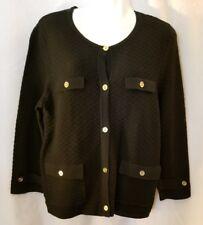 NEW Jones New York Black Gold Button Up Sweater Jacket Cardigan Size Medium