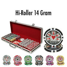 500 High Roller 14g Clay Poker Chips Set with Black Aluminum Case - Pick Chips!