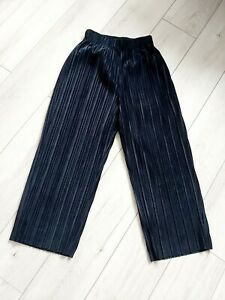 River Island Size 12 Crop Wide Leg Trousers Navy Blue Jumbo Cord Velvet Feel