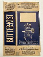 Vintage Butter-Kist Pop Corn Box Patent 1914 No 95621 Never Used Recipes on Box