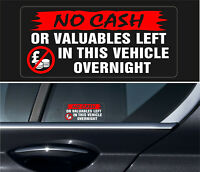 4 X NO CASH Warning Stickers Car Vehicle Security THEFT PROTECTION REVERSE +