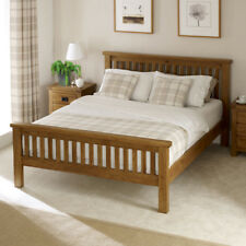 Rustic Solid Oak 4ft 6in Double Bed - High Foot Board - Slatted Headboard - RS04