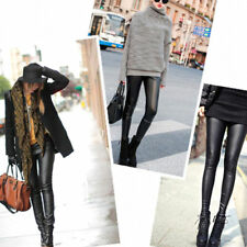 Womens Tights Sexy Wet Look Shiny Faux Leather Pants - punk goth rocker hipster