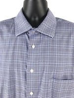 Pronto Uomo Shirt Non Iron Long Sleeve Button Front Casual Dress Blue Mens XXL