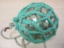 "Ukidama Japanese Vintage Blown Glass Antique 14"" Diam Blue Fishing Float w/Rope"