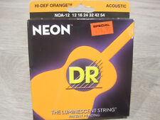 DR NOA-12 Hi-Def Orange Neon 12-54 Luminescent Acoustic Guitar Strings - 3 Packs