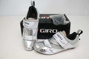 New Giro Men Mele Tri Cycling Bike Shoes 40 7.25 Chrome White 3-Bolt EC70 Carbon