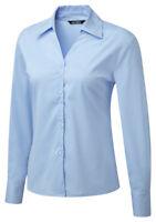 Vortex Designs  Lena Sky Blue Long Sleeve Work Blouse - Size UK 24