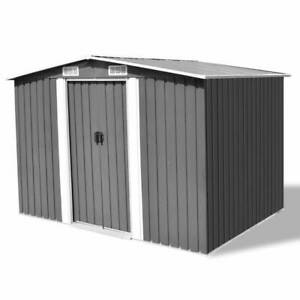 vidaXL Garden Storage Shed Grey Metal 257x205x178cm Tool Organiser Cabin Room