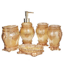 5Ps Gold Bathroom Accessories Set Soap Dispenser Tray Toothbrush Holder Tumblers
