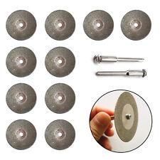 10Pcs Mini Diamond Blade Cutting Discs Rotary Wheel Grinding +2 Mandrel Dremmel