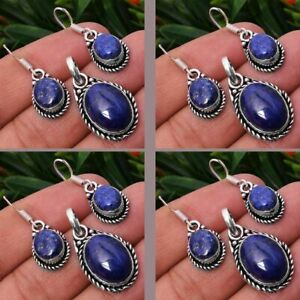 Lapis Lazuli 10pcs 925 Sterling Silver Plated Pendant Earring Sets Jewelry #ST-1