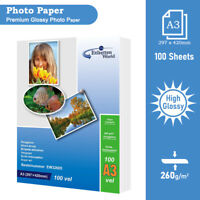 100 Sheets A3 260 Gsm High Glossy Photo Paper Inkjet Paper EW High Quality