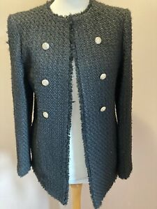 Ladies Textured Boucle Jacket Size 10 Black Blazer Gold Buttons Ex Chainstore