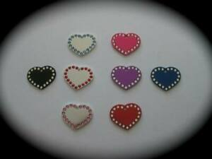 LARGE Crystal Heart Shaped Custom Pet ID Name Tag Cat Dog FREE ENGRAVE/POST