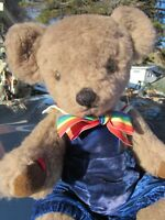 VINTAGE TEDDY BEAR  CUTE BOY DOLL STRIPED BOWTIE VELVET ARTIST TERESA MAY TX 14""