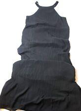 Lark & Ro Women's Micro Pleated Chiffon Maxi Dress Black Medium M New