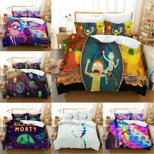 Rick and Morty Bedding Set 3PC Of Duvet Cover Pillowcase UK Single Double King