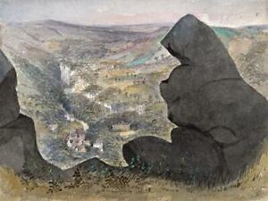 CAROLINE ANN BRERETON Watercolour Painting BLACK ROCKS PEAK DISTRICT c1865