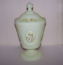 Vintage Fenton Green Satin Glass Covered Candy  Dish Pretty Hand Signed Flowers