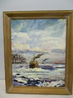 ORIGINAL SIGNED STEINMAYER OIL ON BOARD PAINTING OF STEAMSHIP