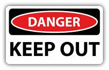 "Danger Keep Out Sign Warning Car Bumper Sticker Decal 6"" x 4"""