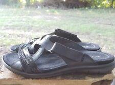 Ecco 39 Womens Leather Sandals Black Flat