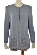 St John Evening by Marie Gray Womens Blue Cardigan Sweater Sz 14 Wool Top
