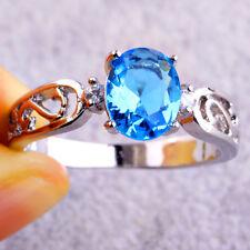 New Fashion Jewelry Oval Cut Blue Topaz Gemstone Silver Ring Size 11 Pretty Gift