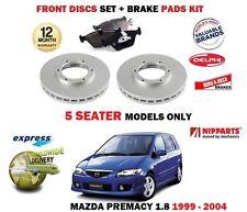 FOR MAZDA PREMACY 1.8 5 SEATER 1999-2004 FRONT BRAKE DISCS SET + DISC PADS KIT