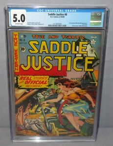 SADDLE JUSTICE #8 (Last Issue becomes Saddle Romances) CGC 5.0 EC Comics 1949